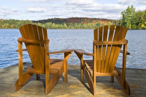 Chairs on a deck off Seneca Lake
