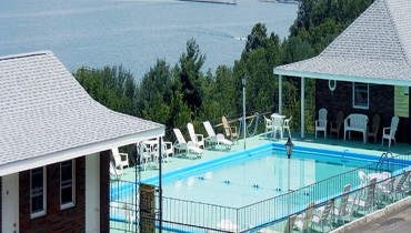 Glen Motor Inn outdoor pool overlooking Seneca Lake