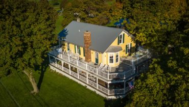 Magnolia Place BnB from the air highlighs outdoor decks